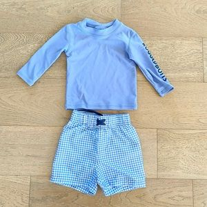Rugged Butts rash guard and swim trunks blue size 6-12 months